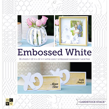 """DCWV Single-Sided Cardstock Stack 12""""X12"""" 36/Pkg-Embossed White Solid, White Core"""