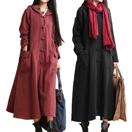 (Plus Size Hooded Long Sleeve Maxi Dress Coat Jacket Pockets for Women)