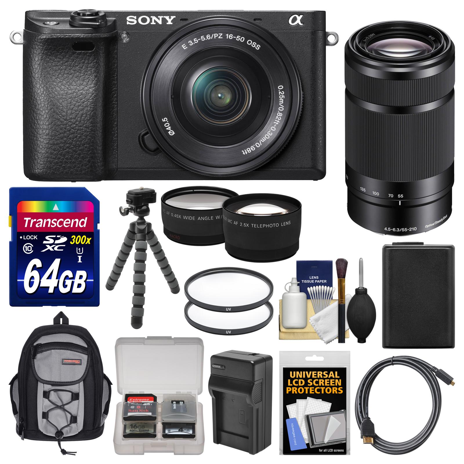 sony alpha a6300 4k wi fi digital camera & 16 50mm with 55