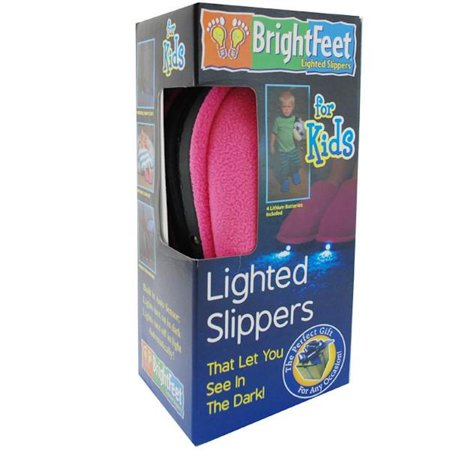 Bright Feet Lighted Slippers- Childrens- Pink (Large (Best Shoes For Children's Feet)