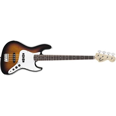 Squier by Fender Affinity  Jazz Bass - Rosewood Fingerboard - Slick Silver - IV String, Brown Sunburst 3 Tone Sunburst Rosewood Fingerboard