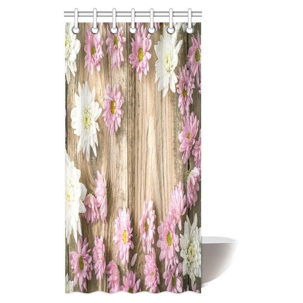 MYPOP Flower Shower Curtain, Pink And White Flower On