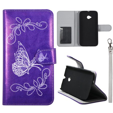 2nd Gen Leather (White Butterfly Purple Wallet Folio Case for Motorola Moto E 2nd Gen Fashion Flip PU Leather Cover Card ID Card Slots & Stand)