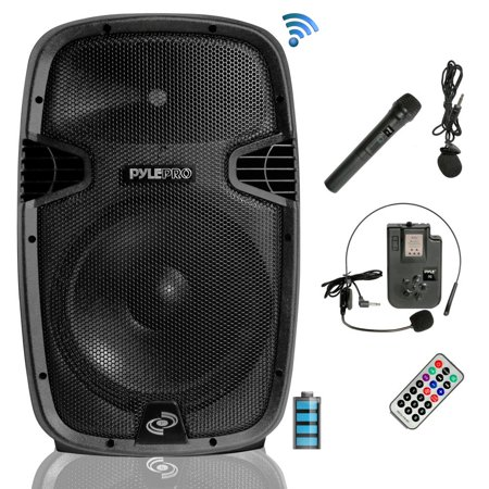 Wireless Battery Powered Pa System - Pyle PPHP1541WMU - Wireless & Portable Bluetooth Loudspeaker - Active-Powered PA Speaker System Kit, Built-in Rechargeable Battery (15