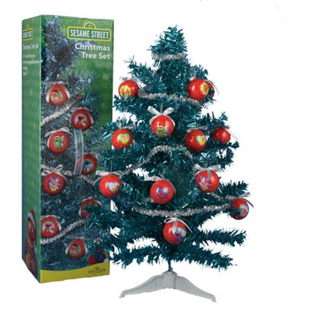 kurt adler 23 sesame street mini christmas tree set with 12 ball ornaments