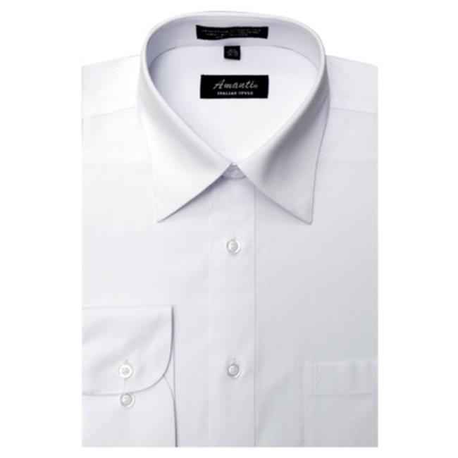 Amanti CL1003-18 1-2x36-37 Amanti Mens Wrinkle Free Solid White Dress Shirt - White-18 1-2 x 36-37