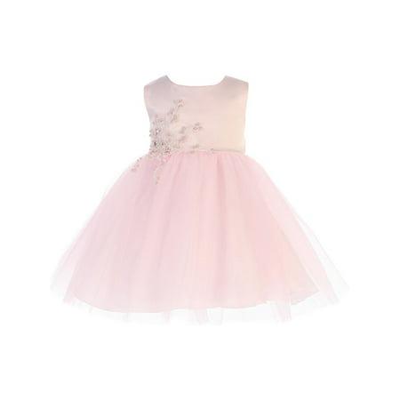 Baby Girls Pink Satin Embroidered Applique Tulle Flower Girl Dress (Pink Girls Dresses)