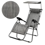 BARTON Zero Gravity Chair Patio Chair Folding Lounge with Canopy Shade & Cup Holder Outdoor Yard Beach New Gray