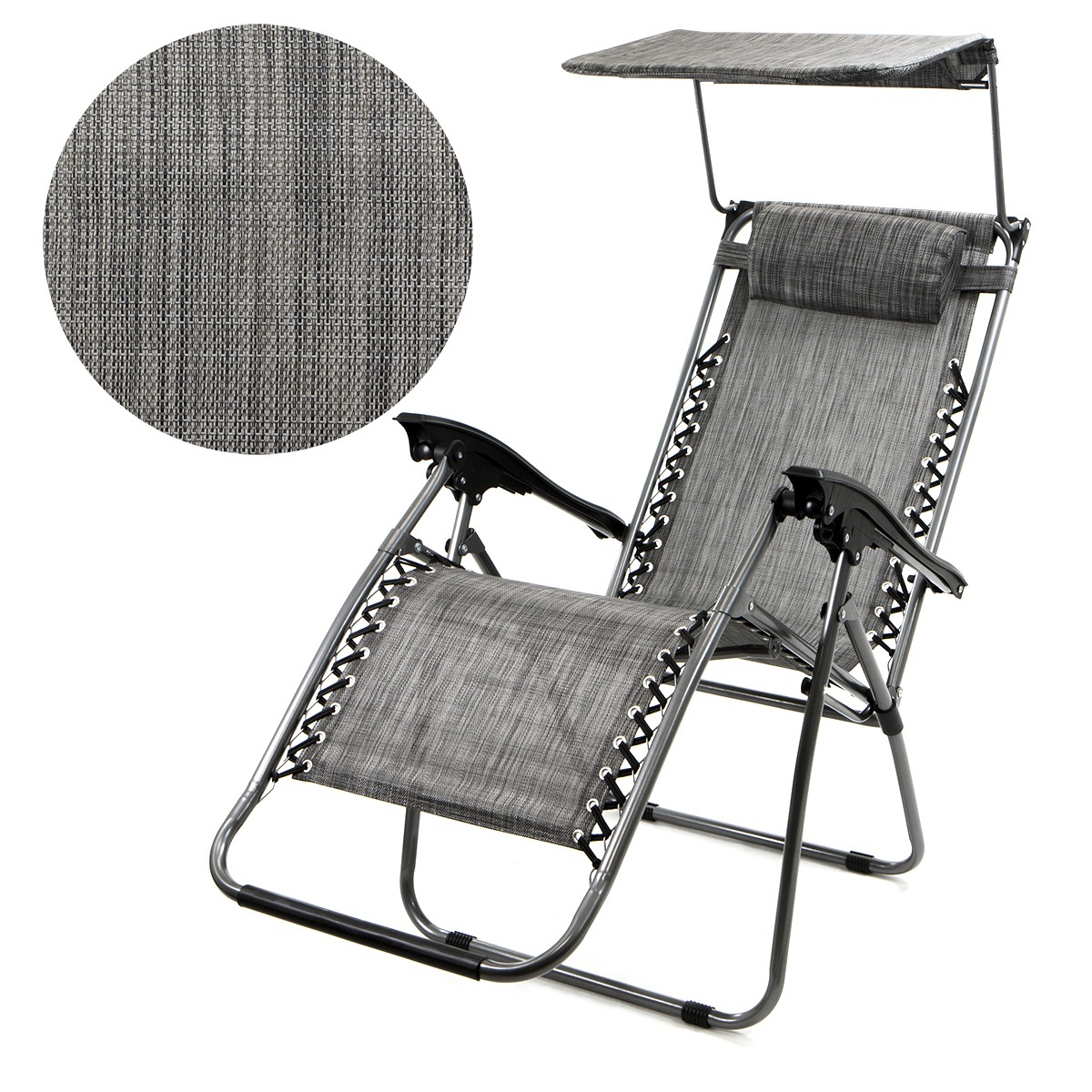 patio zero gravity chair folding lounge with canopy shade u0026 cup holder outdoor yard beach
