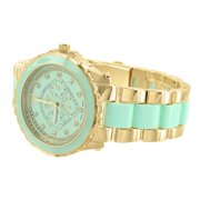 MK Style Womens Watch Mint Green Link Gold Tone Parker Pave Acetate