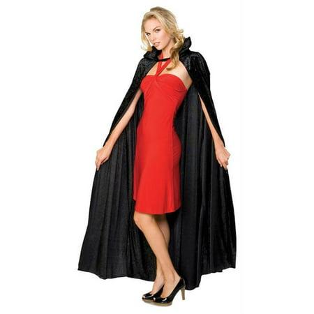 Costumes For All Occasions Ru16207 Cape Long Black Crushed Velvet - Crushed Velvet Cloak