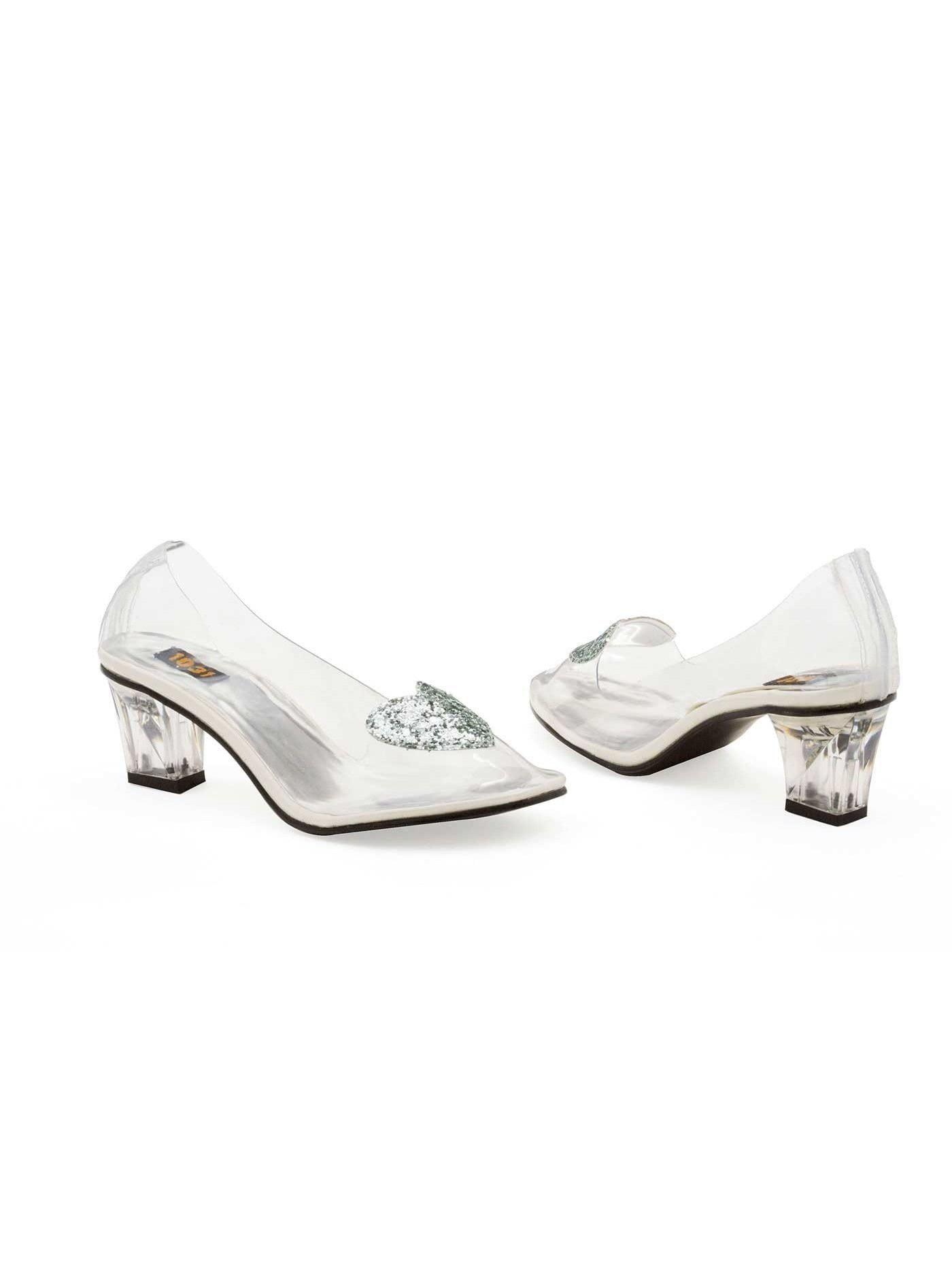 73fdaecdd58d Ellie Shoes E-212-Ariel 2 Heel Clear Slipper with Silver Glitter Heart ...