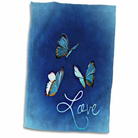 Blue Butterfly Towel (3dRose Love Style with Butterfly and Blue Background - Towel, 15 by 22-inch)