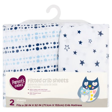 Parent's Choice Fitted Crib Sheets, Choose Pattern - Blue Star, 2