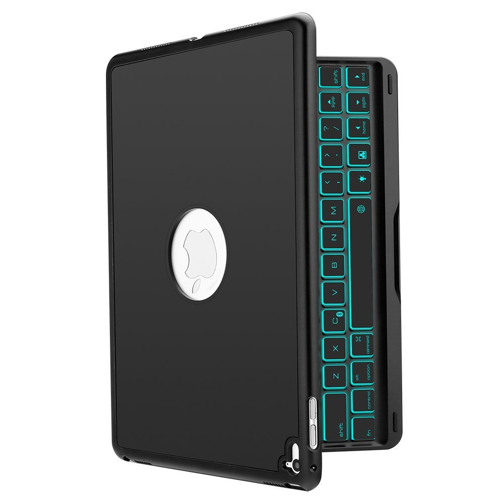 iEGrow F8Spro iPad Pro 9.7 Inch  2016 Released Model A1673/A1674/A1675 Bluetooth Keyboard 7 Colors LED Backlit Keyboard with Protective Case Cover,Black