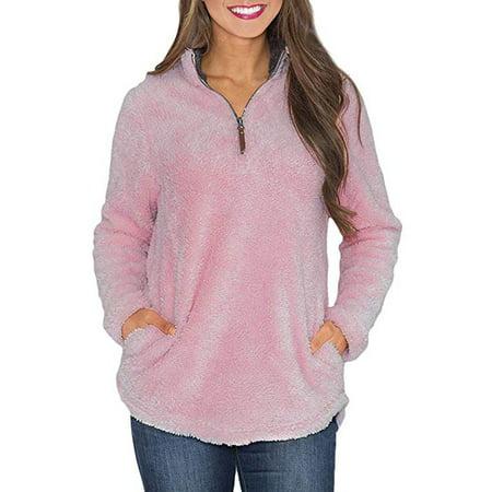 Women's Long Sleeve 1/4 Zip Fleece Pullover with Pockets