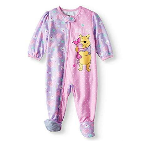AME Winnie The Pooh Piglet Hug Time Microfleece Footed Blanket Sleeper (Baby Girls) (18m) Pink](Winnie The Pooh Hoodie)