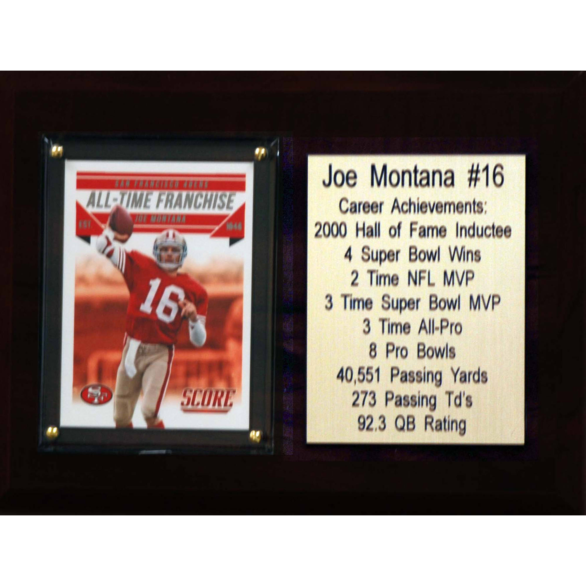 C&I Collectables NFL 6x8 Joe Montana San Francisco 49ers Career Stat Plaque
