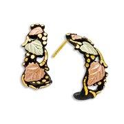 Landstroms Black Powder Coat Earrings with 10k Trim and Black Hills Gold Leaves