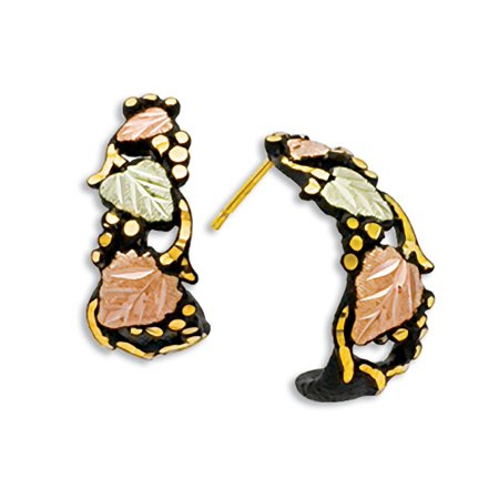 Landstroms Black Powder Coat Earrings with 10k Trim and Black Hills Gold Leaves Black Hills Gold Star