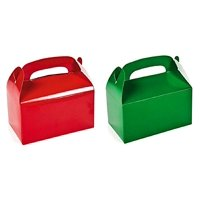 2 DOZEN (24) CHRISTMAS TREAT BOXES 12 RED 12 GREEN BY TM, Includes 12 RED AND 12 GREEN CARDBOARD treat boxes By DISCOUNT PARTY AND NOVELTY