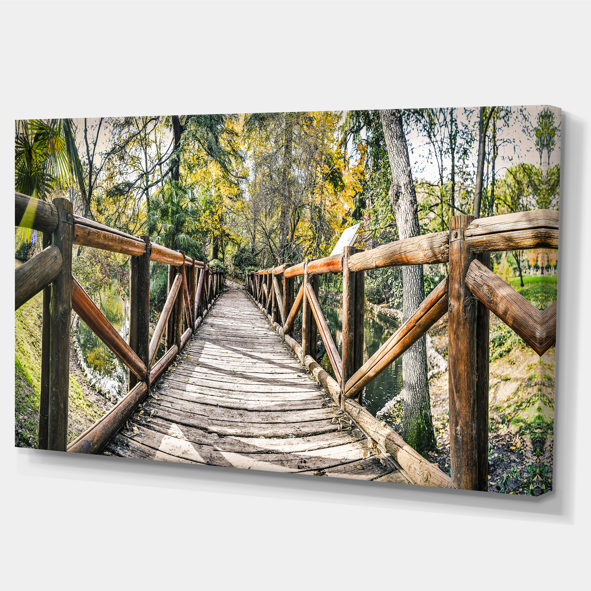 Wooden Bridge in Forest - Wooden Sea Bridge Canvas Wall Art on long bridge, tree bridge, simple bridge, concord, ontario, farm bridge, popsicle stick bridge, dina pugliese, king city, cantilever bridge, swing bridge, elizabeth arden, stone bridge, truck going under bridge, maple, ontario, brick bridge, plank bridge, waterfall bridge, troll bridge, beam bridge, humber river,