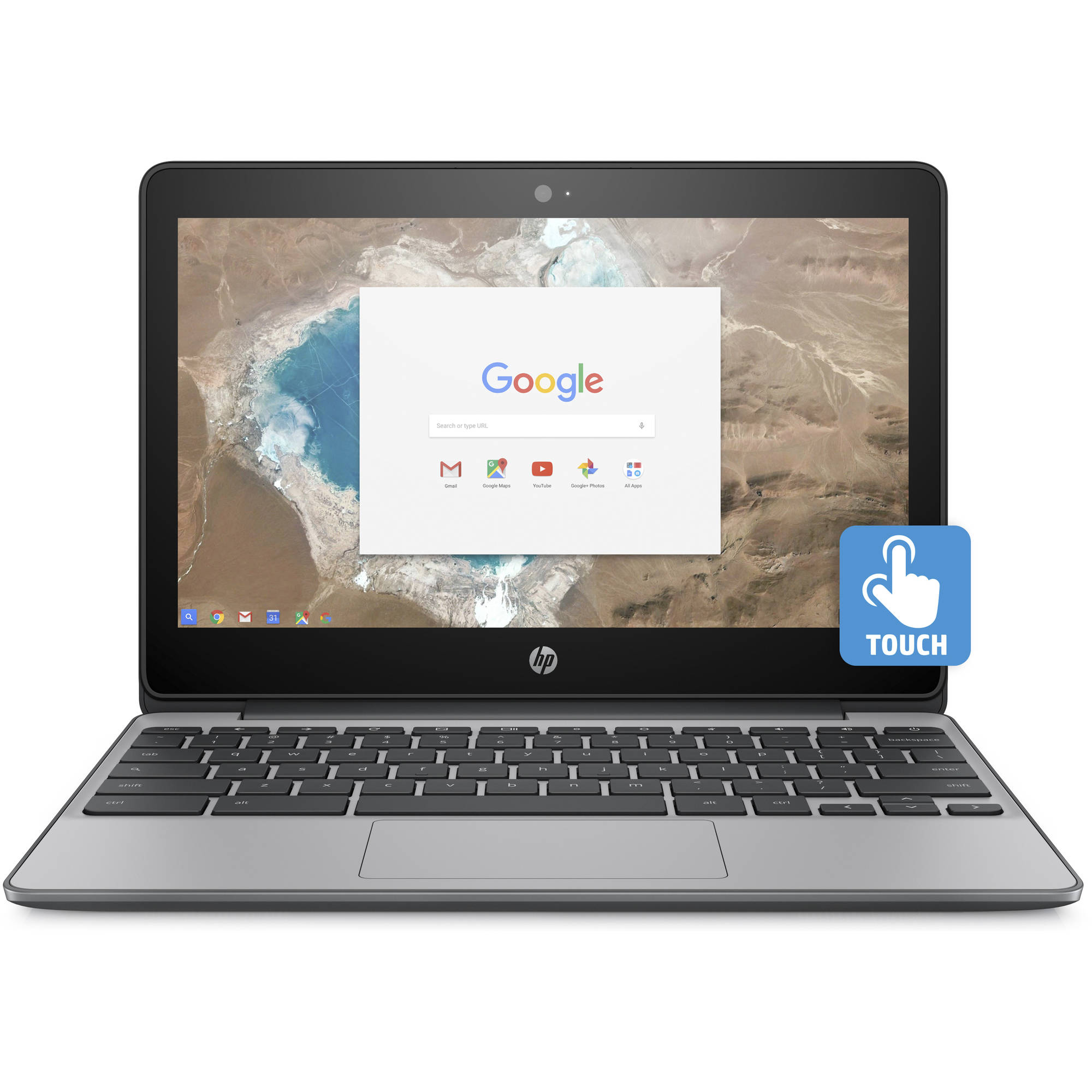 "HP 11-v020wm 11.6"" Chromebook, Corning Gorilla Glass Touchscreen, Chrome, Intel Celeron N3060 Processor, 4GB RAM, 16GB eMMC Drive"