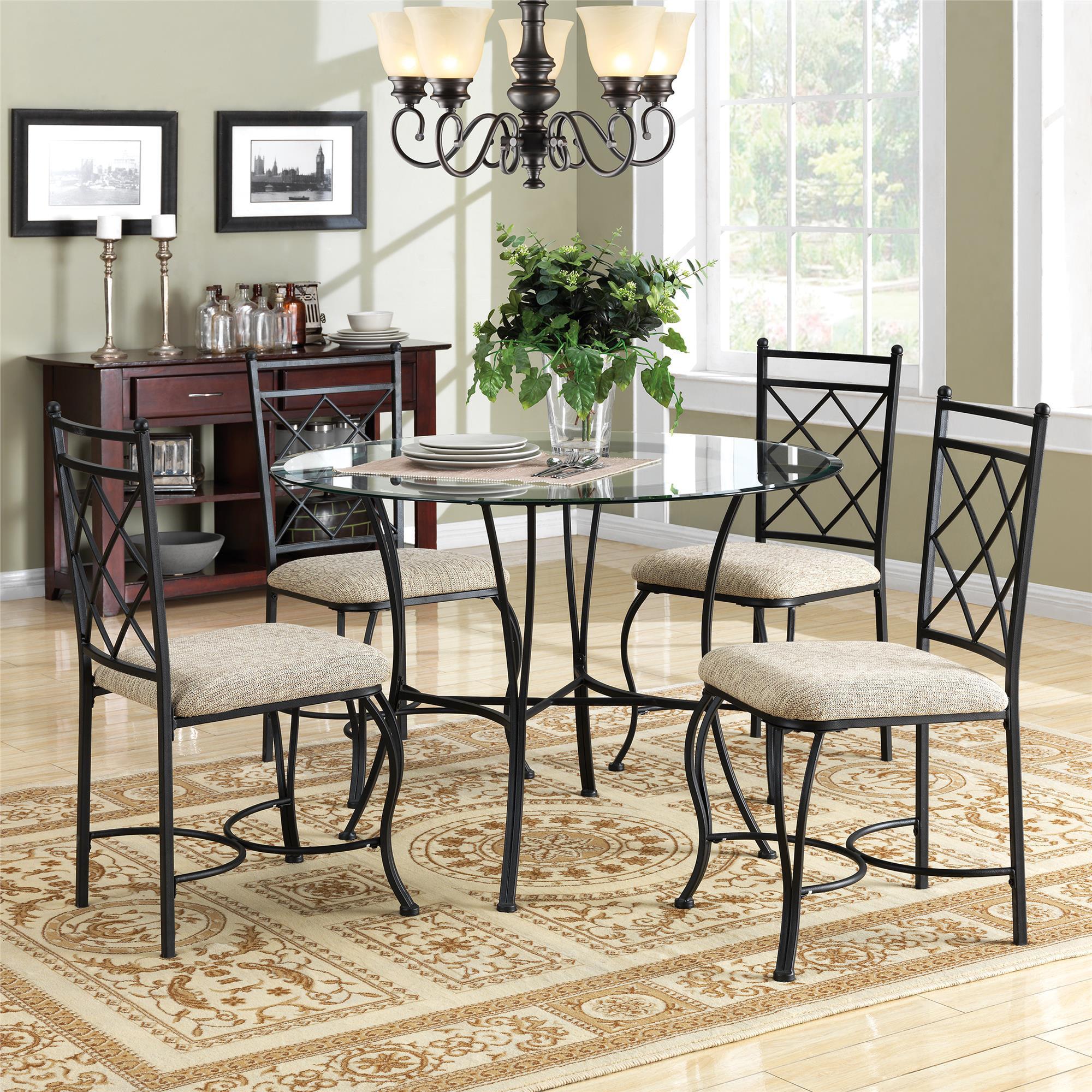 Mainstays 5-Piece Glass Top Metal Dining Set - Walmart.com
