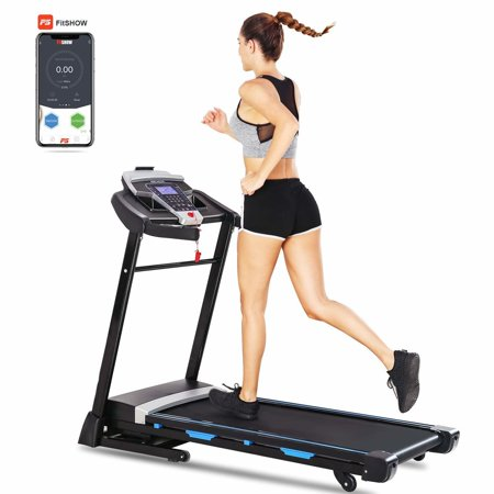 A NCHEER 8807F 3.25HP Electric Treadmill Quiet Folding Treadmill with Auto Incline, Soft Drop System ,Heart Sensor APP Control for Home & Gym Cardio