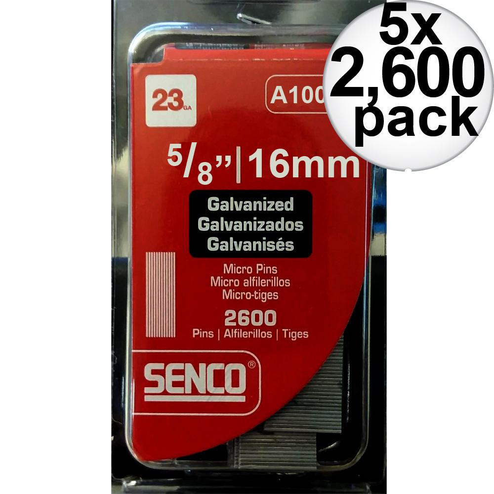 "Senco A100629 2,600pk 5/8"" 23 Gauge Galvanized Micro Pin Nails 5-Pack"