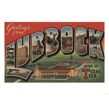 Lubbock, Texas - Texas Tech Print Wall Art By Lantern Press ...