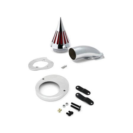 Krator Yamaha V-Star Vstar 650 (All Years) Cruiser High Quality Chrome Billet Aluminum Cone Spike Air Cleaner Kit Intake Filter Motorcycle