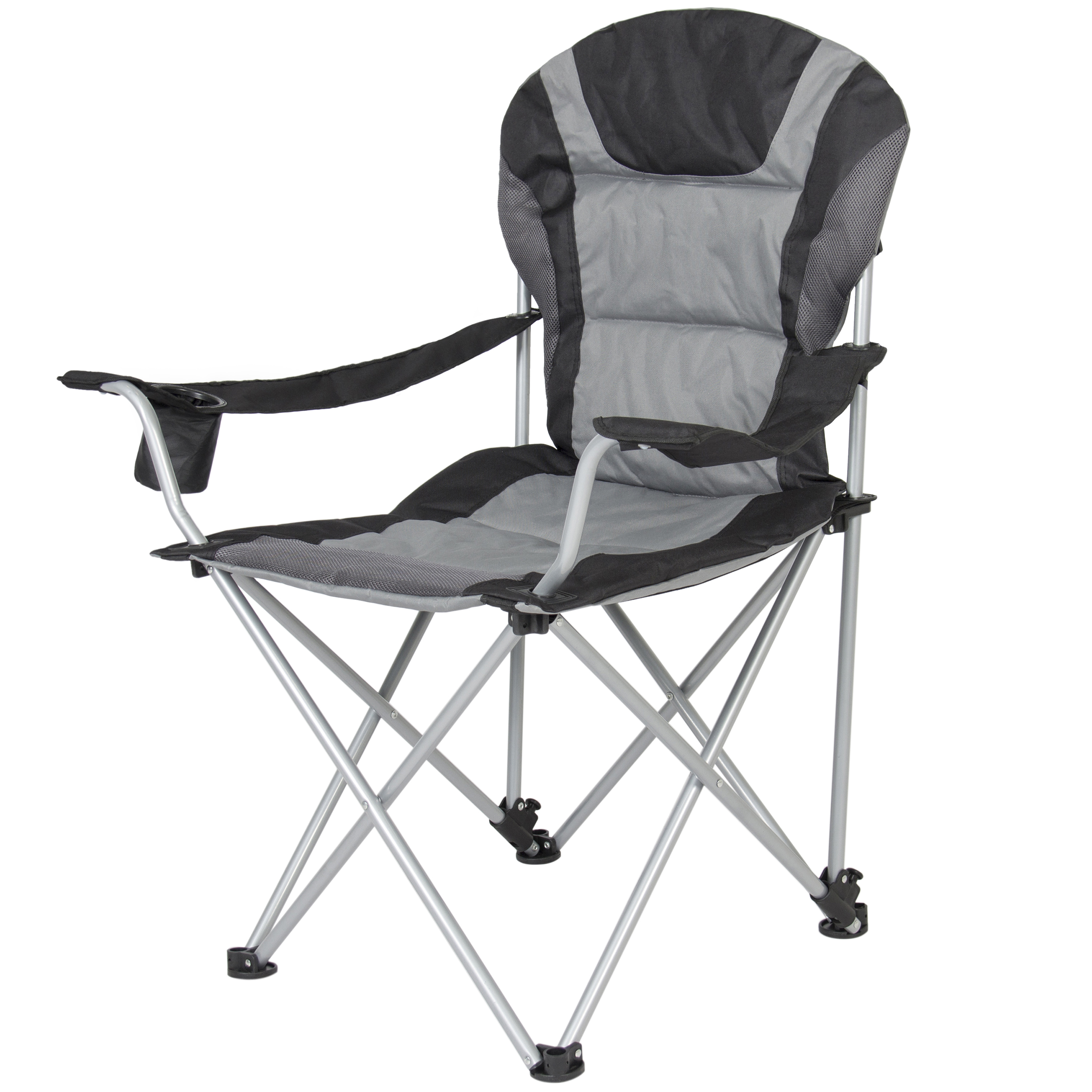 Deluxe Padded Reclining Camping Fishing Beach Chair With Portable