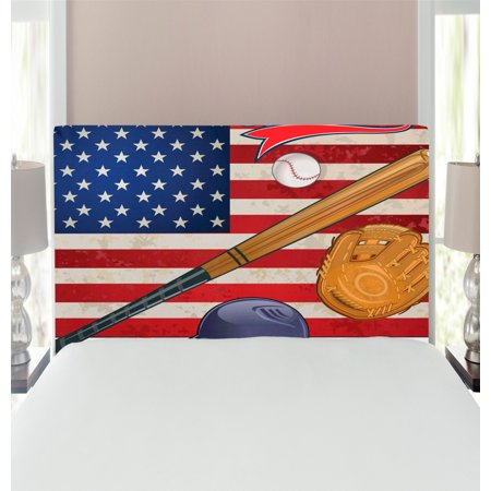 Sports Headboard, USA American Flag and Baseball Equipment Championship Tournament Inspired Art, Upholstered Decorative Metal Bed Headboard with Memory Foam, Multicolor, by Ambesonne