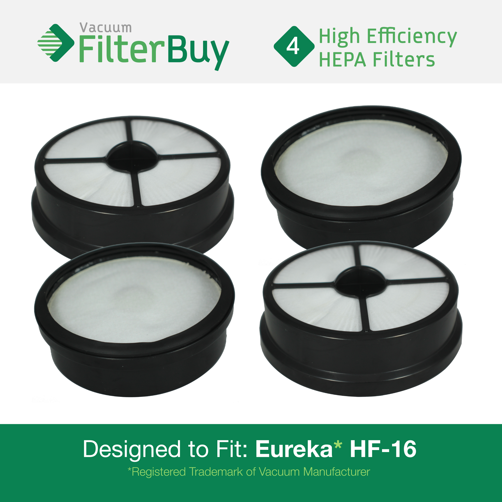 4 - Eureka HF-16 (HF16) HEPA Replacement Filters, Part #'s 68115, 68715, 68115A & 67806.  Designed by FilterBuy to fit Eureka Air Speed Zuum AS5203A Upright Vacuum