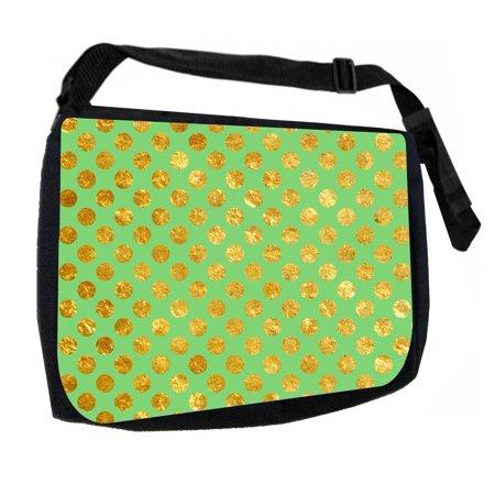 Gold Print Polka Dots on Mint Green Black Laptop Shoulder Messenger Bag