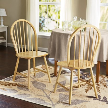 Mainstays Windsor Dining Chairs, Set of 2, Natural Finish ...
