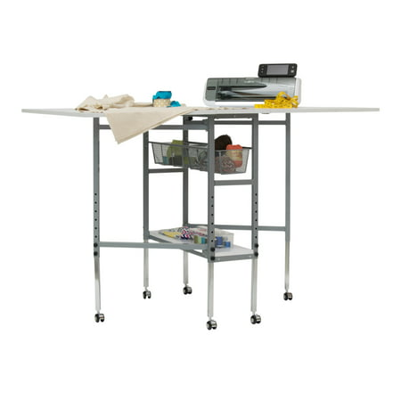 Studio Designs Alpha, Fabric Cutting, Sewing, Quilting, Craft Expandable Table Top with Drawers, and Height Adjustable, Portable with Storage, Shelf in Silver / White (Fabric Cutting Table)