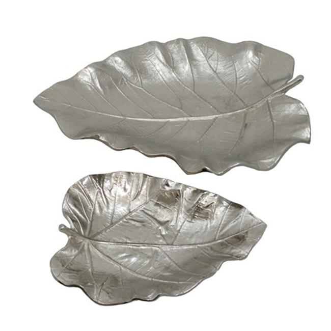 TIC Collection 15-205 Silver Leaf Trays - Set of 2