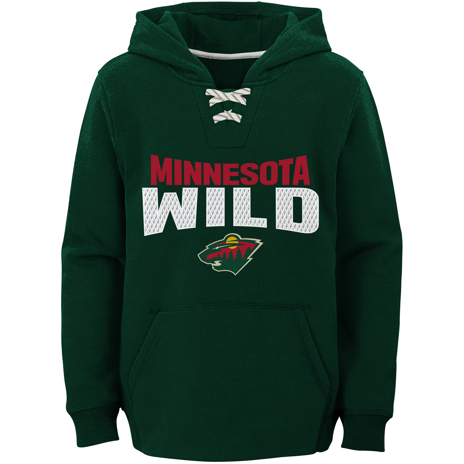 Minnesota Wild Youth Off the Ice Lace-Up Pullover Hoodie - Green