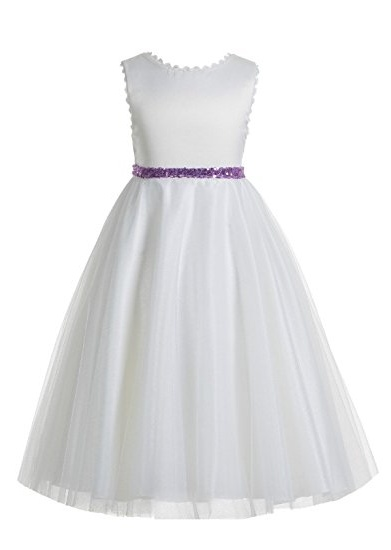 EkidsBridal V-Back Lace Edge Ivory Flower Girl Dress Communion Dresses Pageant Dress Junior Dress 183