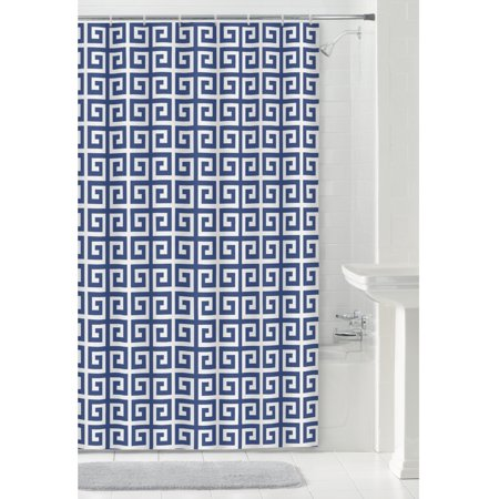 Mainstays Greek Key Fabric Shower Curtain 70 Inch X 72 Blue