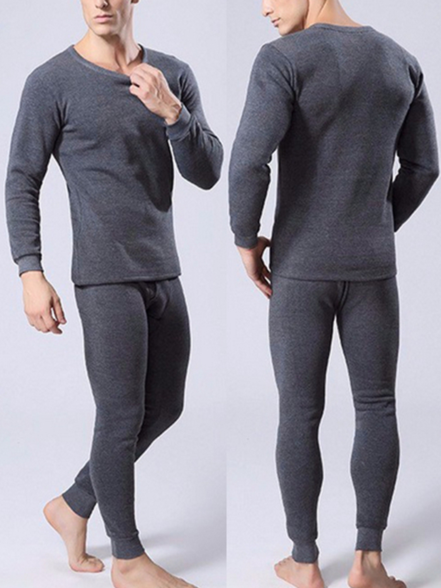Mens Long johns+Tops Thermal Underwear Breathable Bottom Pants Casual Trousers