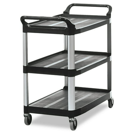 Rubbermaid Cart Replacement Wheels - Rubbermaid Commercial Open Sided Utility Cart, Three-Shelf, 40-5/8w x 20d x 37-13/16h, Black