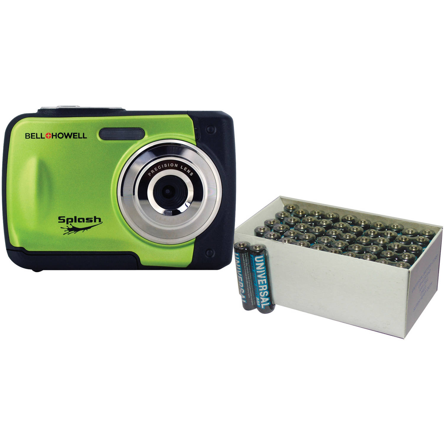 Bell+Howell Green WP10 Waterproof Digital Camera with 12 Megapixels and UPG 50-Pack AAA Batteries