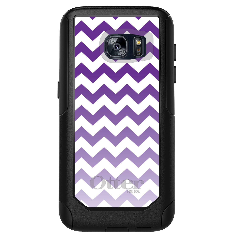 DistinctInk™ Custom Black OtterBox Commuter Series Case for Samsung Galaxy S7 - White Purple Fade Chevron Stripes