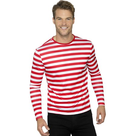 Mens Red And Whte Stripey Can't Find Me Guy Costume - Best Guy Costume