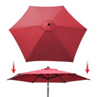 Sunrise 9ft 6 Ribs Outdoor, Patio Umbrella Cover Canopy, Replacement Cover Top, Burgundy (Cover Only, Umbrella Frame not Included)