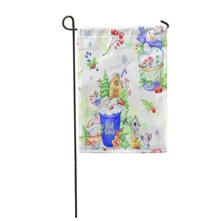 SIDONKU Watercolor Cup of Cream Gingerbread and Fairy Tale Snowmens Garden Flag Decorative Flag House Banner 12x18 inch