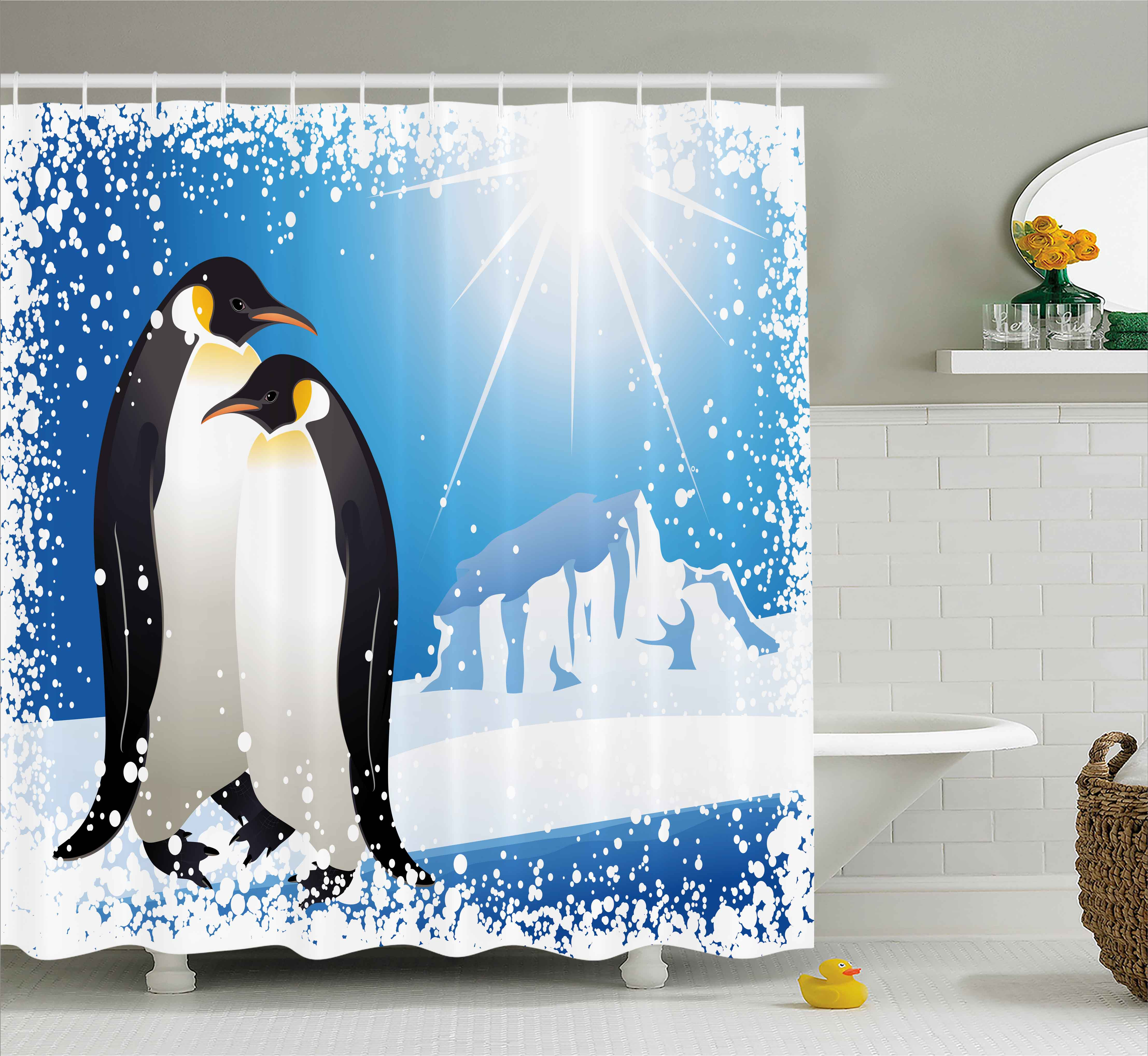 Winter Shower Curtain, Cute Penguins On Iceland At Arctic Snowy Frozen  Climate Kids Illustration,
